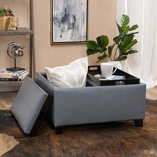 Buy Justin 2-Tray-Top Gray Leather Ottoman Coffee Table w/ Storage by  GDFStudio on Dot & Bo - Buy Justin 2-Tray-Top Gray Leather Ottoman Coffee Table W/ Storage