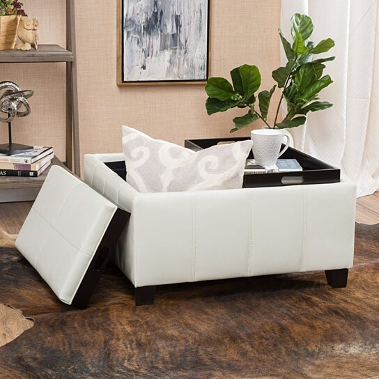 Buy Justin 2 Tray Top Ivory Leather Ottoman Coffee Table W Storage By Gdfstudio On Dot Bo