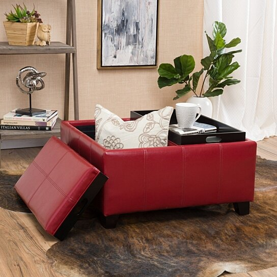 Buy Justin 2 Tray Top Red Ottoman Coffee Table W Storage By Gdfstudio On Dot Bo