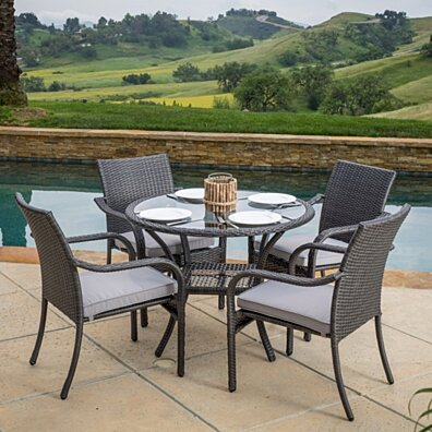 Kadelyn Outdoor 5pc Grey Wicker Dining Set