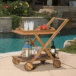 Kadence Natural Wood Stained Kitchen Serving Cart