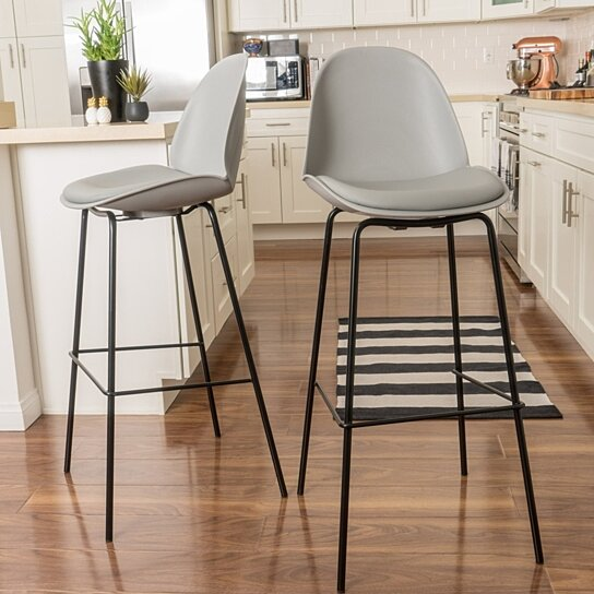 Fabulous Karald Contemporary Grey 32 Inch Bar Stools Set Of 2 Inzonedesignstudio Interior Chair Design Inzonedesignstudiocom