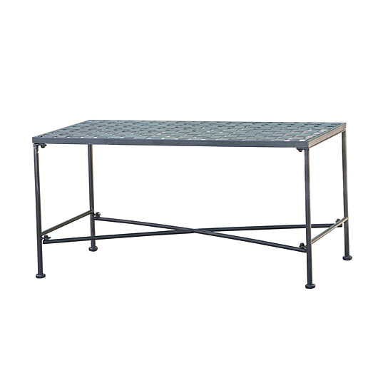 Buy kent outdoor black iron coffee table by gdfstudio on for Great deals on outdoor furniture