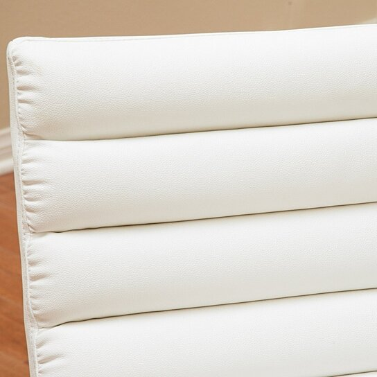 Buy Kingsbury White Leather Lounge Accent Chair By
