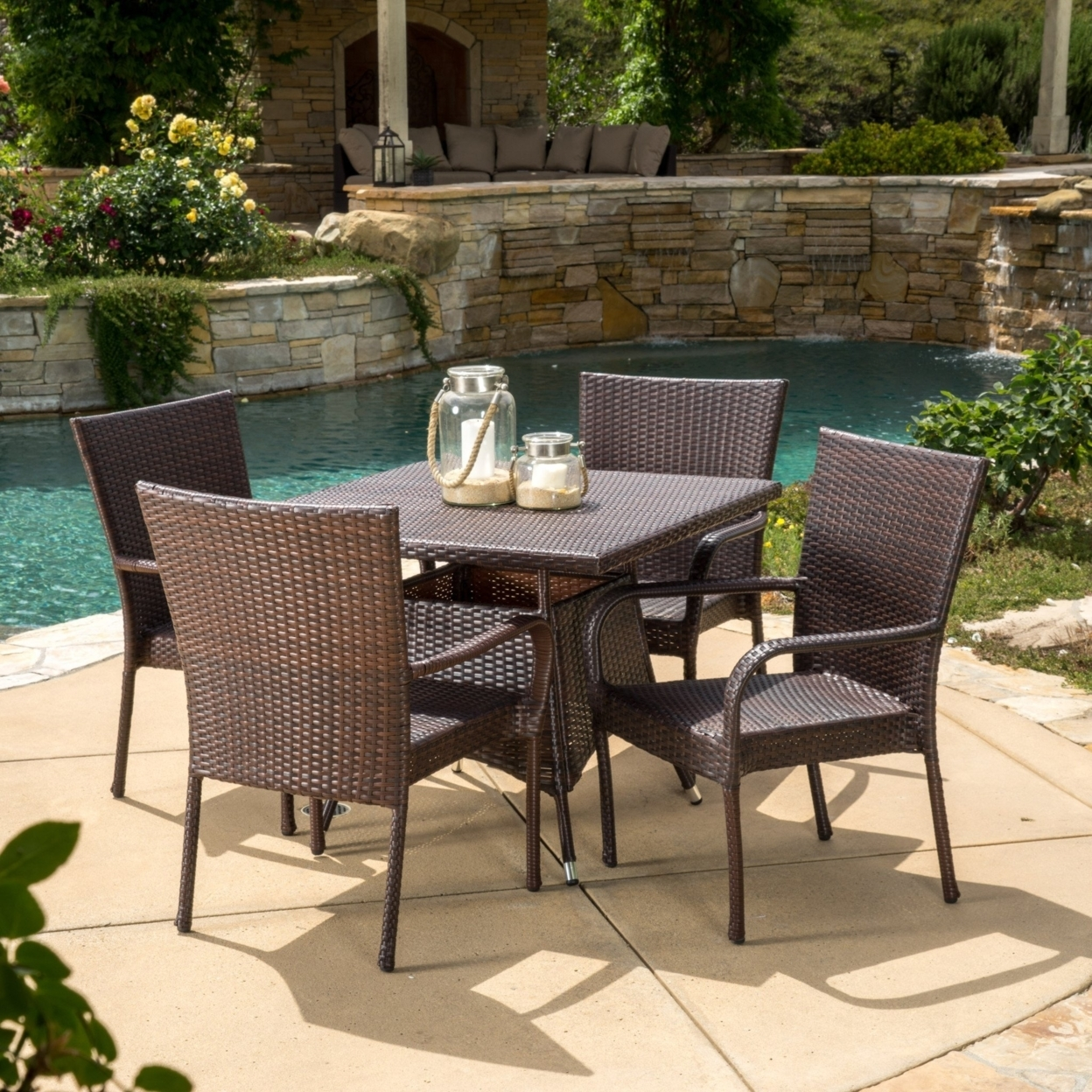 Kory Outdoor 5pc Multibrown Wicker Square Dining Set