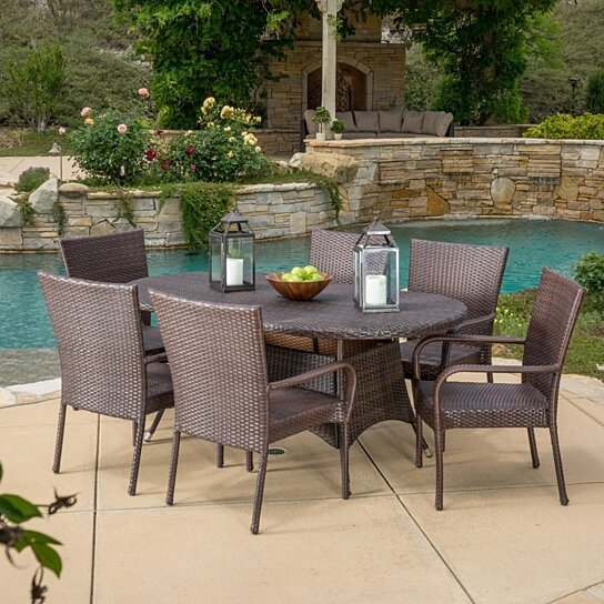 Buy kory outdoor 7pc multibrown wicker round dining set by for Best deals on patio furniture sets