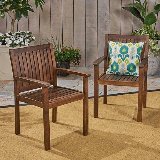 Miraculous Kylan Outdoor Acacia Wood Dining Chairs Set Of 2 Lamtechconsult Wood Chair Design Ideas Lamtechconsultcom