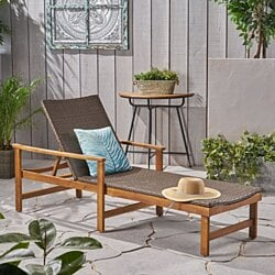 Kyle Outdoor Chaise Lounge  Acacia Wood and Wicker  Natural Finish  Gray