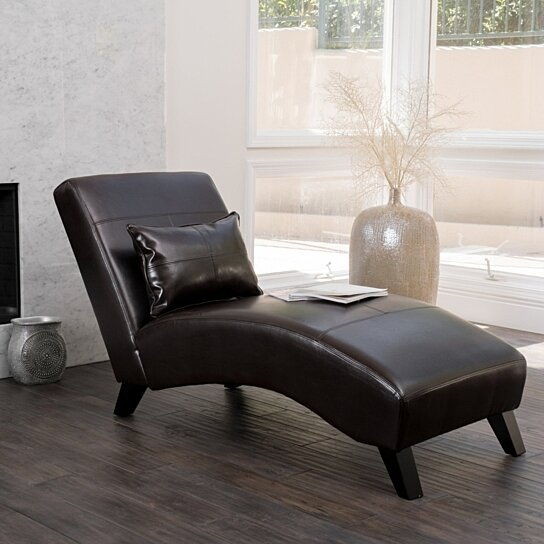 Buy Laguna Brown Leather Curved Chaise Lounge Chair