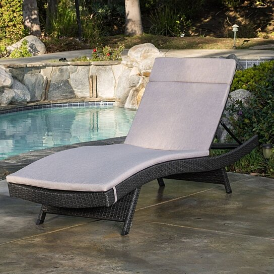 Buy lakeport outdoor grey wicker adjustable chaise lounge for 23 w outdoor cushion for chaise