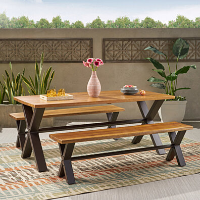 Denise Austin Home Irving Outdoor 3-piece Acacia Wood Dining Set