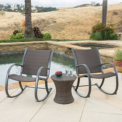 Leann Outdoor 3pc Dark Brown Wicker Rocking Chair Chat Set (Hourglass Table)