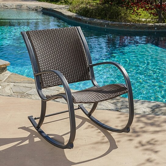 Buy Leann Outdoor Dark Brown Wicker Rocking Chair By GDFStudio On OpenSky