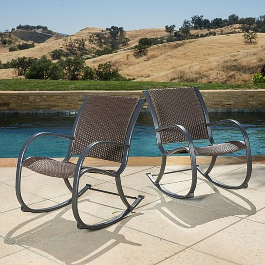 Buy leann outdoor dark brown wicker rocking chairs by for Great deals on outdoor furniture