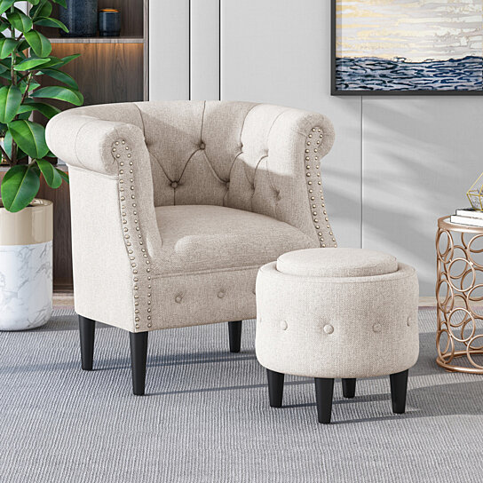 Excellent Leila Petite Tufted Fabric Chair And Ottoman Set Andrewgaddart Wooden Chair Designs For Living Room Andrewgaddartcom