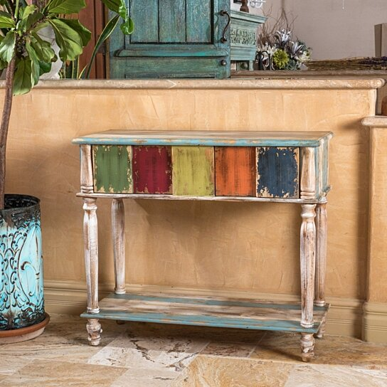 Buy Leo Antique Multi-Color Weathered Wood 2 Drawer