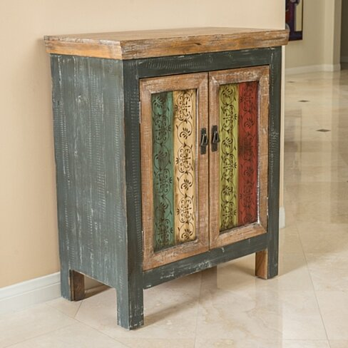 Leo Antique Multi-Color Wood 2-Door Cabinet
