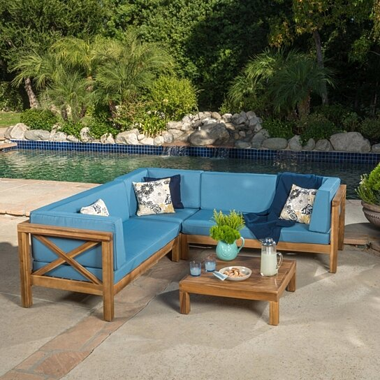 Wood Sectional Patio Furniture.Brava Outdoor 4 Piece V Shaped Acacia Wood Sectional Sofa And Coffee Table Set