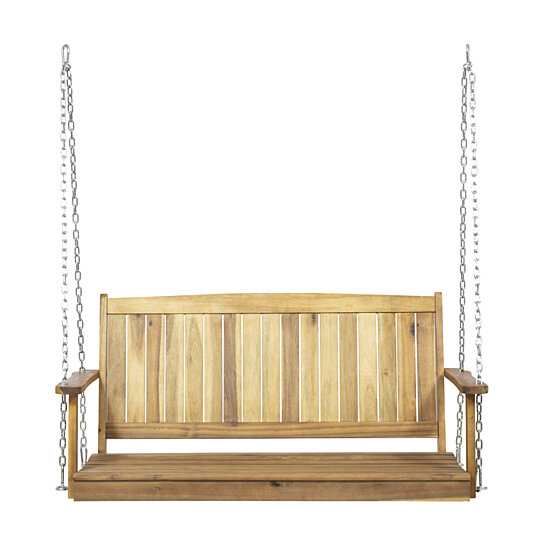 Lilith Outdoor Aacia Wood Porch Swing