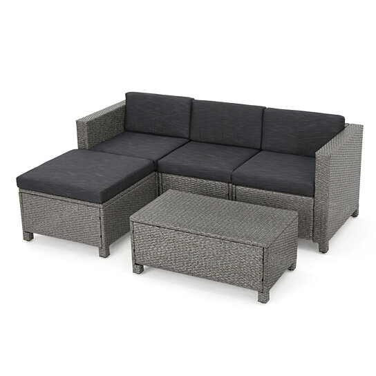 Buy Lorita Outdoor 5 Piece Grey Wicker Sectional Sofa Set With Black  Cushions By GDFStudio On Dot U0026 Bo