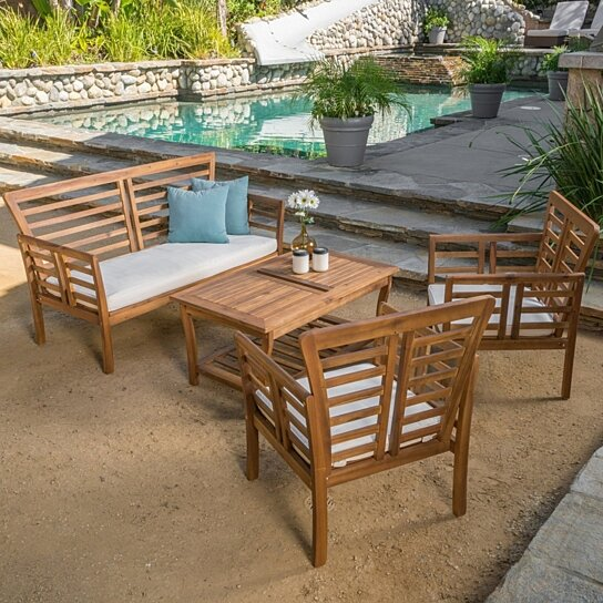 Buy louis outdoor 4 piece solid wood chat set with for Best deals on patio furniture sets