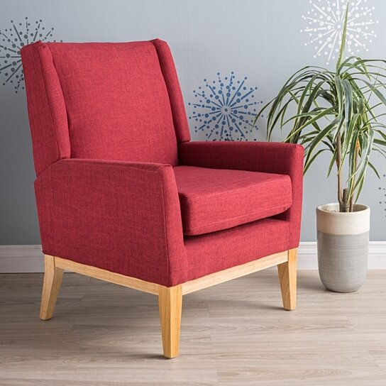 Buy Maeve Red Fabric Accent Chair By Gdfstudio On Dot Amp Bo
