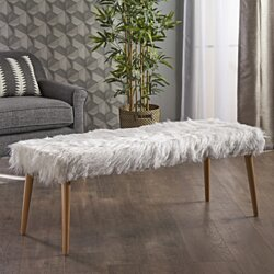 Majestic Mid-Century Long Hair Faux Fur Ottoman