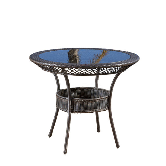Buy malibu 34 round outdoor wicker dining table by for Great deals on outdoor furniture