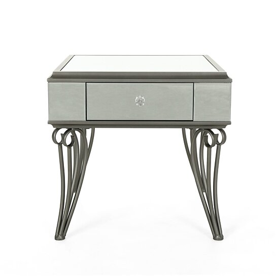 Buy Mamie Modern Mirrored Accent Table With Drawer Tempered Glass By Gdfstudio On Dot Bo