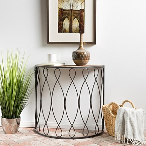 Marbella White Rusty Firwood Large Accent Table