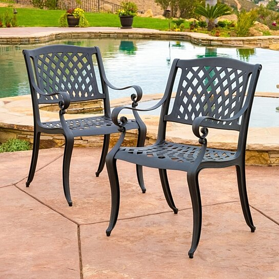 Buy marietta outdoor cast aluminum dining chair set of 2 for Great deals on outdoor furniture