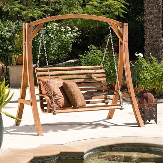 Buy Marlette Outdoor Wood Swinging Bench And Base By