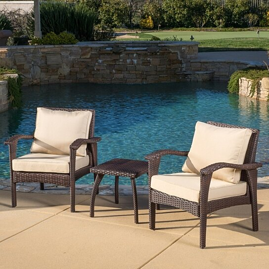 Buy Maui Outdoor 3 Piece Brown Wicker Chat Set With Cushions By GDFStudio  On Dot U0026 Bo