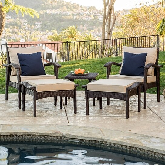 Buy maui outdoor 5 piece brown wicker seating set with for Great deals on outdoor furniture