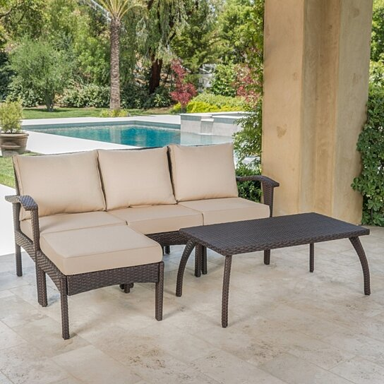 Outdoor L Shaped 5 Pc Wicker Sofa Set