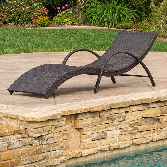 Buy maureen outdoor brown wicker folding armed chaise for Great deals on outdoor furniture