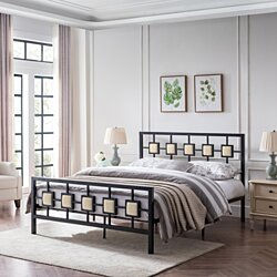 Melvin Modern Iron Bed Frame with Upholstered Details, Queen
