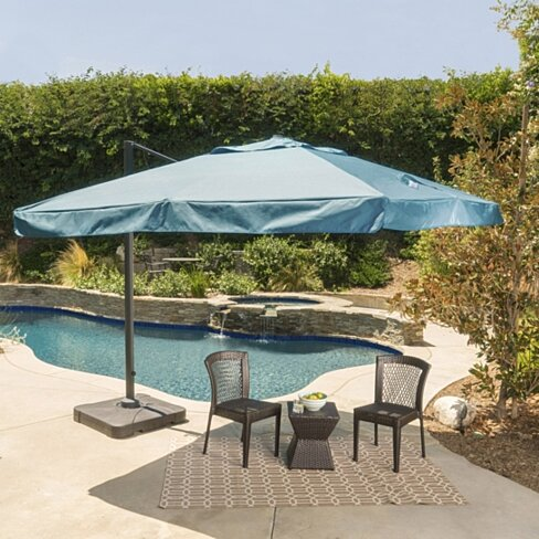 Meridith Outdoor 9.8 Ft. Cantilever Umbrella w/ Base