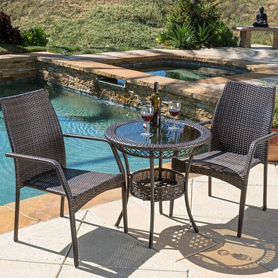 Buy michael outdoor multibrown wicker 3pc bistro set by for Best deals on patio furniture sets