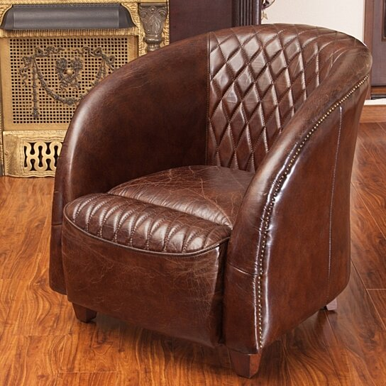 Buy Michele Quilted Brown Top Grain Leather Club Chair By