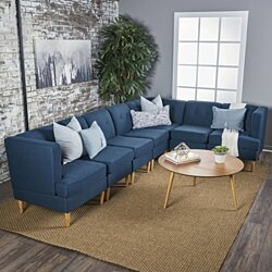 Milltown Mid Century Modern Fabric 7 Piece Sectional Sofa Set