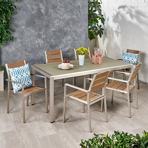 Miranda Outdoor Modern 6 Seater Aluminum Dining Set with Tempered Glass Table Top