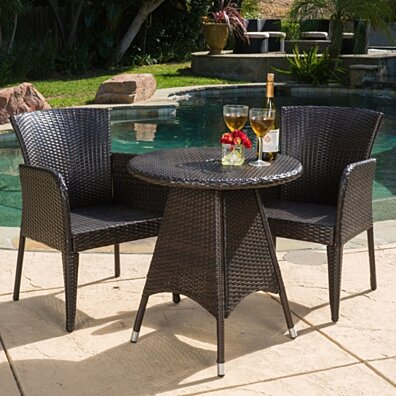 Mockler Outdoor Contemporary Multi-Brown Round 3pc Bistro Set