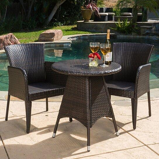 Buy Mockler Outdoor Contemporary Multi-Brown Round 3pc