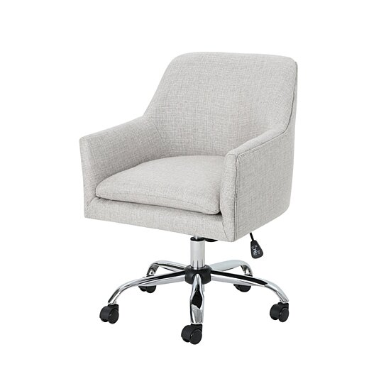 Buy Morgan Mid Century Modern Fabric Home Office Chair With Chrome Base By Gdfstudio On Dot Bo
