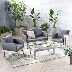 Muriel Outdoor 4 Seat Silver Finish Aluminum Chat Set with Cushions
