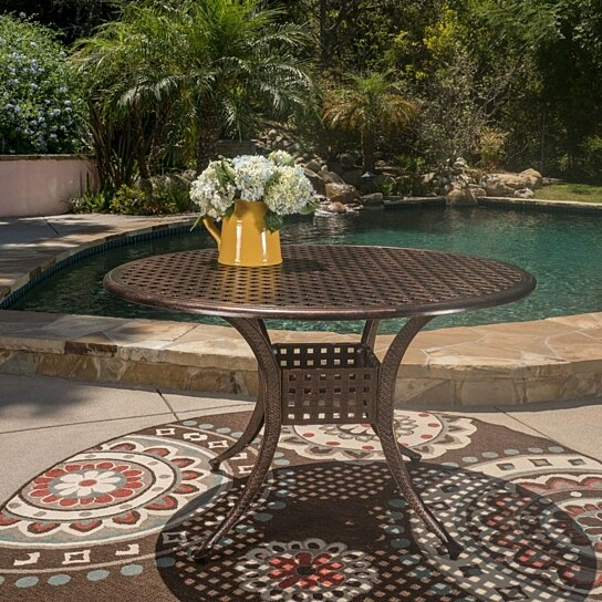 Buy nalbor outdoor shiny copper cast aluminum circular for Great deals on outdoor furniture