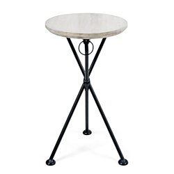 Nasir Outdoor Portable Foldable Light Grey Finished Acacia Wood Side Table