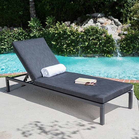 Buy Nealie Outdoor Mesh Aluminum Frame Chaise Lounge w ...