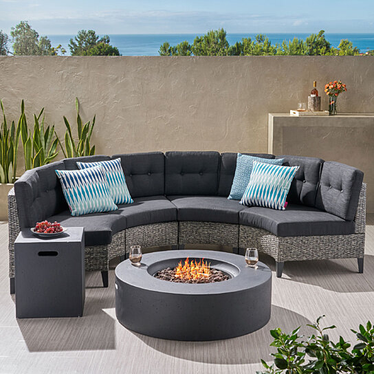Excellent Nessett Outdoor 6 Piece Mixed Black Wicker Half Round Sofa Set With Dark Grey Fire Table Spiritservingveterans Wood Chair Design Ideas Spiritservingveteransorg